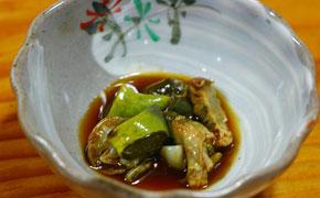 アワビの肝の酢醤油漬け