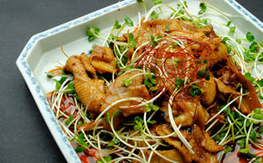 鶏皮とメンマの中華風炒め