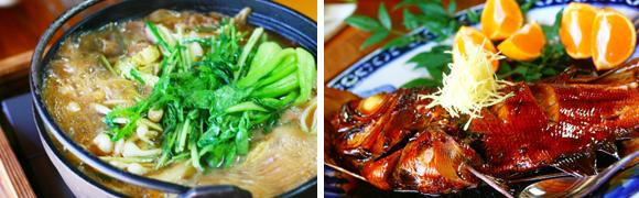 猪鍋と金目鯛の煮付け