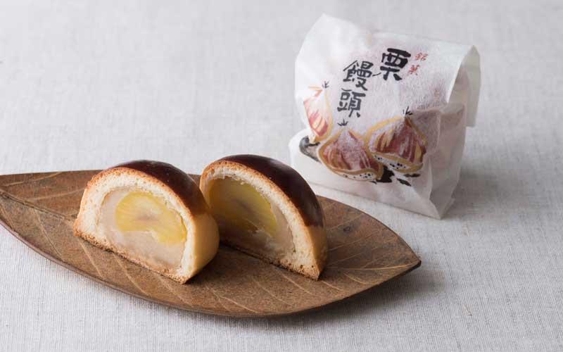 上質な白あんに、大振りな栗がまる一粒入った贅沢な<栗饅>一個150円。