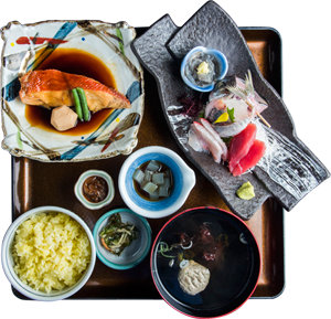 金目鯛煮魚と刺身膳