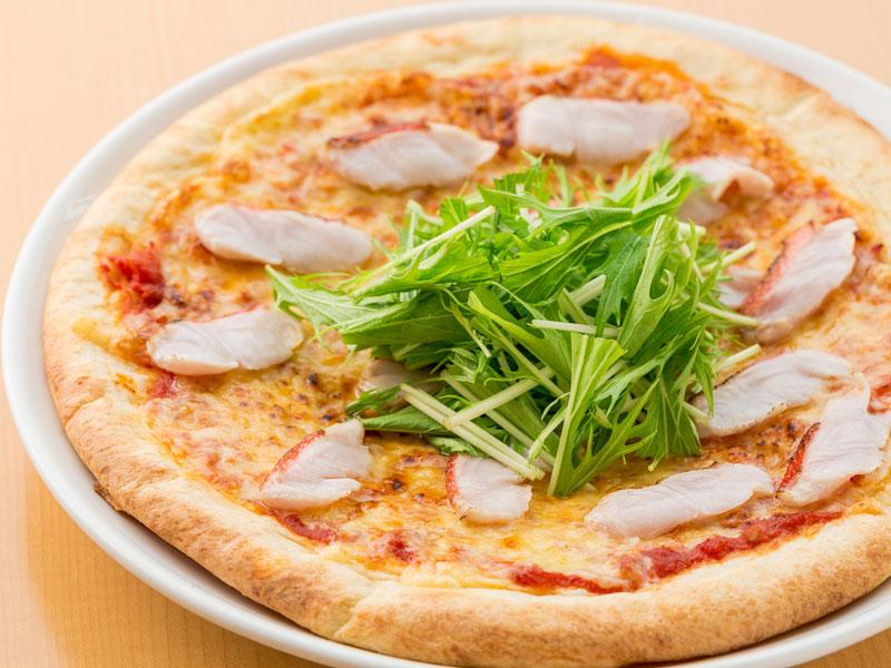 地金目鯛と水菜のピッツァ